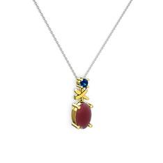 Oval Taşlı X kolye - Kök yakut ve lab safir 14 ayar altın kolye (40 cm gümüş rolo zincir) #1eo9qcj