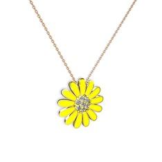 Papatya Kolye - Beyaz zirkon 14 ayar altın kolye (Sarı mineli, 40 cm rose altın rolo zincir) #13oio60