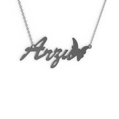 Kelebek İsim Kolye - 925 ayar siyah rodyum kaplama gümüş kolye (4 karakterli el yazısı, 40 cm beyaz altın rolo zincir) #d23y2d
