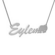 Fil İsim Kolye - 925 ayar gümüş kolye (5 karakterli el yazısı, 40 cm gümüş rolo zincir) #1v55uxy
