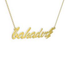Şimşek İsim Kolye - 925 ayar altın kaplama gümüş kolye (7 karakterli el yazısı, 40 cm gümüş rolo zincir) #eclr91