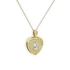 Damla Kalp Kolye - Beyaz zirkon ve swarovski 14 ayar altın kolye (40 cm rose altın rolo zincir) #1go3r90