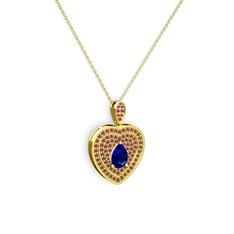 Damla Kalp Kolye - Lab safir ve kök yakut 14 ayar altın kolye (40 cm altın rolo zincir) #be4nhk