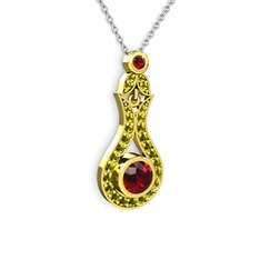 Lale Kolye - Garnet ve peridot 14 ayar altın kolye (40 cm beyaz altın rolo zincir) #z8t3k9