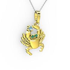 Yengeç Kolye - Akuamarin ve yeşil kuvars 14 ayar altın kolye (40 cm beyaz altın rolo zincir) #115lrtl