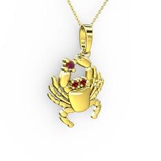 Yengeç Kolye - Kök yakut ve garnet 14 ayar altın kolye (40 cm gümüş rolo zincir) #1ix1tpp