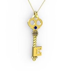 Anahtar Kolye - Lab safir 14 ayar altın kolye (40 cm altın rolo zincir) #sqtevg