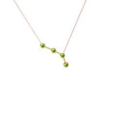 Aries Kolye - Peridot 14 ayar altın kolye (40 cm rose altın rolo zincir) #184o71