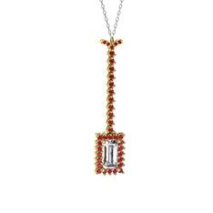 Via Kolye - Beyaz zirkon ve rodolit garnet 14 ayar altın kolye (40 cm beyaz altın rolo zincir) #1lje49u