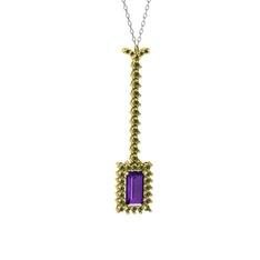 Via Kolye - Ametist ve peridot 14 ayar altın kolye (40 cm beyaz altın rolo zincir) #l4m90m