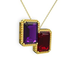 Avis Kolye - Ametist, garnet ve sitrin 14 ayar altın kolye (40 cm altın rolo zincir) #98fvcr