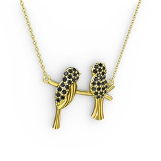 Lora Kuş Kolye - Siyah zirkon 14 ayar altın kolye (40 cm altın rolo zincir) #83l8mf