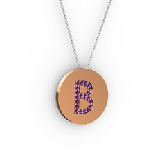 B Baş Harf Kolye - Ametist 18 ayar rose altın kolye (40 cm beyaz altın rolo zincir) #1jlb1vs