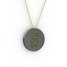 B Baş Harf Kolye - Peridot 925 ayar siyah rodyum kaplama gümüş kolye (40 cm altın rolo zincir) #zagikl