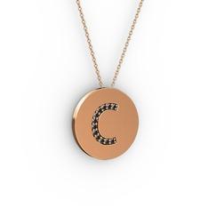 C Baş Harf Kolye - Siyah zirkon 18 ayar rose altın kolye (40 cm rose altın rolo zincir) #8w02ca