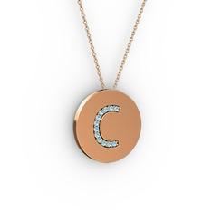 C Baş Harf Kolye - Akuamarin 925 ayar rose altın kaplama gümüş kolye (40 cm rose altın rolo zincir) #ofmklj