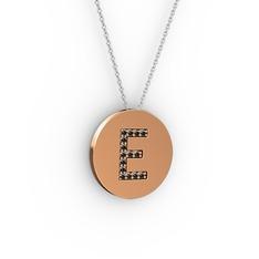E Baş Harf Kolye - Siyah zirkon 18 ayar rose altın kolye (40 cm beyaz altın rolo zincir) #17rcusa