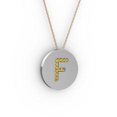 F Baş Harf Kolye - Sitrin 925 ayar gümüş kolye (40 cm rose altın rolo zincir) #1pq9sgw