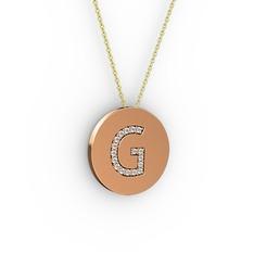 G Baş Harf Kolye - Beyaz zirkon 18 ayar rose altın kolye (40 cm gümüş rolo zincir) #1fqrex1