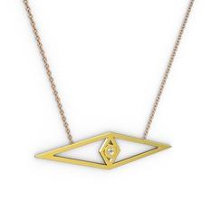 Göz Kolye - Beyaz zirkon 14 ayar altın kolye (40 cm rose altın rolo zincir) #193w9hb