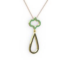 Vidonia Kolye - Yeşil kuvars ve siyah zirkon 14 ayar altın kolye (40 cm rose altın rolo zincir) #caostd