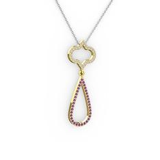 Vidonia Kolye - Pırlanta ve ametist 14 ayar altın kolye (0.48 karat, 40 cm beyaz altın rolo zincir) #knu3v2