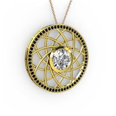 Vanida Kolye - Beyaz zirkon ve siyah zirkon 14 ayar altın kolye (40 cm rose altın rolo zincir) #13dp3rm