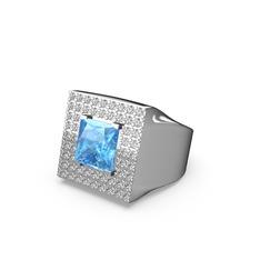 Albera Kare Yüzük - Akuamarin ve beyaz zirkon 925 ayar gümüş yüzük #14ha1cy