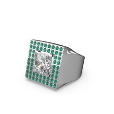 Albera Kare Yüzük - Beyaz zirkon ve yeşil kuvars 925 ayar gümüş yüzük #1638sgv