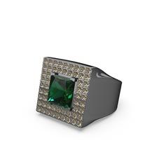 Albera Kare Yüzük - Yeşil kuvars ve dumanlı kuvars 925 ayar siyah rodyum kaplama gümüş yüzük #mqtogz