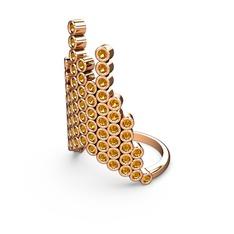 Moola Yüzük - Sitrin 925 ayar rose altın kaplama gümüş yüzük #12px10k