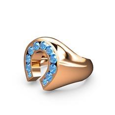 Felix Nal Yüzük - Akuamarin 925 ayar rose altın kaplama gümüş yüzük #104aklq