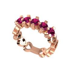 Prime Kalp Yüzük - Rodolit garnet 925 ayar rose altın kaplama gümüş yüzük #1nxeds