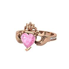 Kalp Claddagh Yüzük - Pembe kuvars ve swarovski 925 ayar rose altın kaplama gümüş yüzük #uqx19z