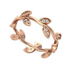 Zeytin Yaprağı Yüzük - Swarovski 925 ayar rose altın kaplama gümüş yüzük #vppl6r