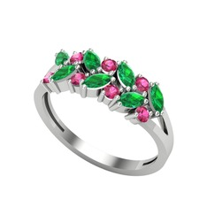 Alida Yüzük - Yeşil kuvars ve rodolit garnet 925 ayar gümüş yüzük #10o74i6