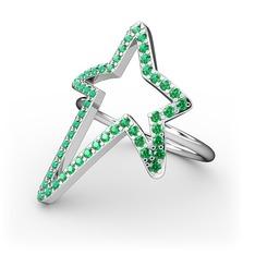 Elva Yıldız Yüzük - Yeşil kuvars 925 ayar gümüş yüzük #1an6b9y