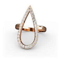 Elva Damla Yüzük - Swarovski 925 ayar rose altın kaplama gümüş yüzük #19l5lcp