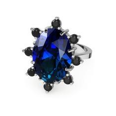 Padma Yüzük - Lab safir ve siyah zirkon 925 ayar gümüş yüzük #12741y7