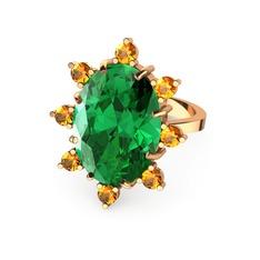 Padma Yüzük - Yeşil kuvars ve sitrin 925 ayar rose altın kaplama gümüş yüzük #j5rutl