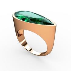 Yaşam Yüzük - Yeşil kuvars 925 ayar rose altın kaplama gümüş yüzük #1len80i