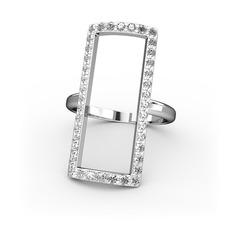 Elva Dikdörtgen Yüzük - Beyaz zirkon 925 ayar gümüş yüzük #15z3cp5